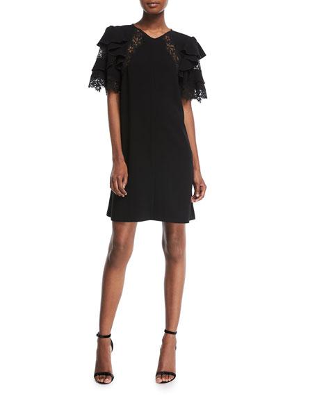 Short-Sleeve A-Line Crepe Dress w/ Lace