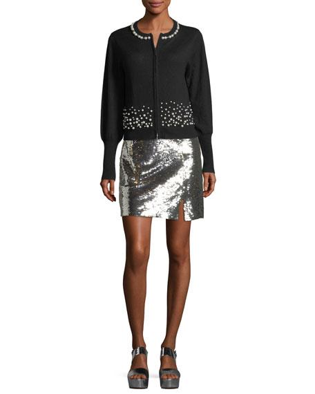 Showtime Front-Slit Sequin Mini Skirt