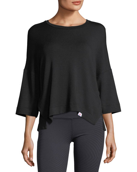 Soothe Round-Neck Dropped-Shoulder Pullover Top