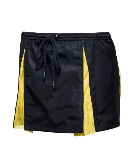 Hidden-Pleat Mesh Skirt