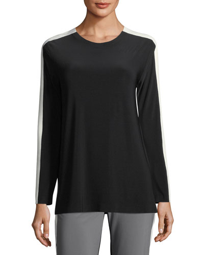 Side-Stripe Long-Sleeve Crew Top
