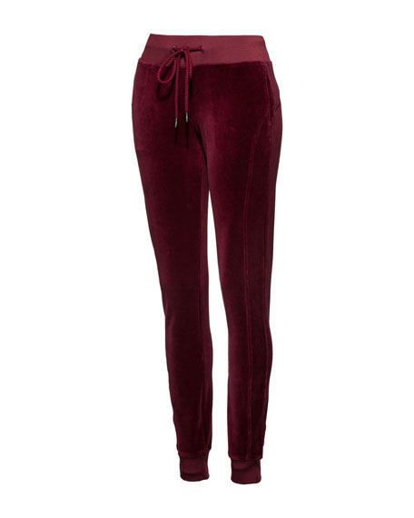 Fitted Velour Track Pants
