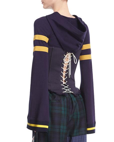 Hooded Lace-Up Varsity Corset