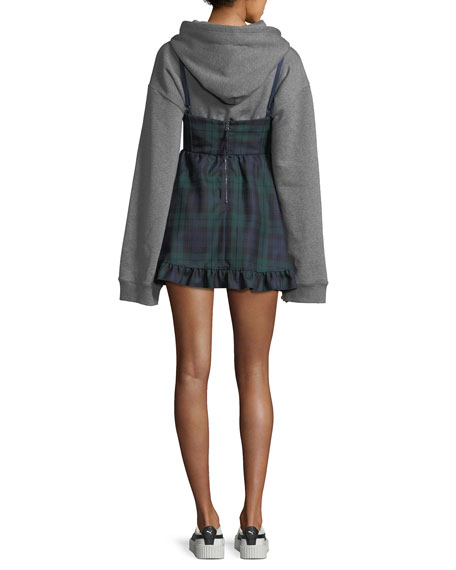 Hooded Sweatshirt with Mini Plaid Dress