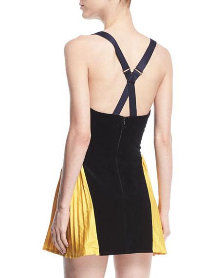 Sweetheart Side-Pleat Velveteen Mini Dress