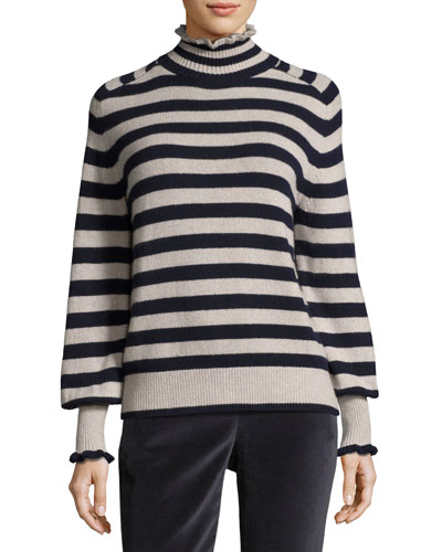 Striped Turtleneck Wool-Blend Pullover Sweater