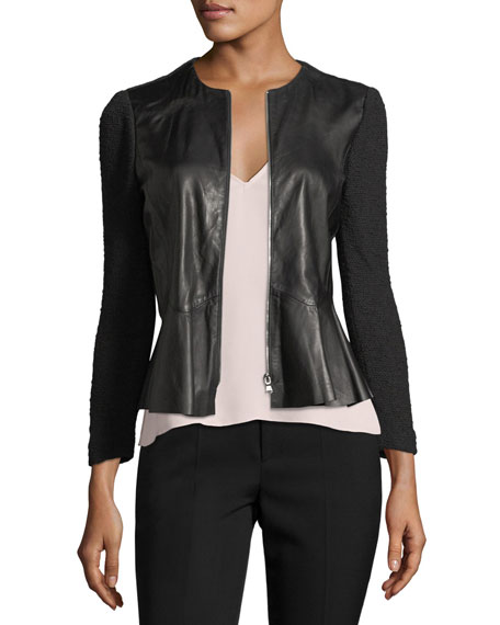 Round-Neck Zip-Front Leather & Knit Jacket