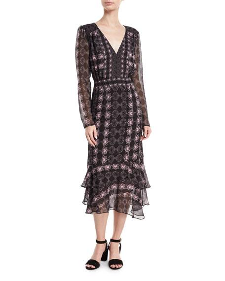 Fortune Teller V-Neck Long-Sleeve Day Dress