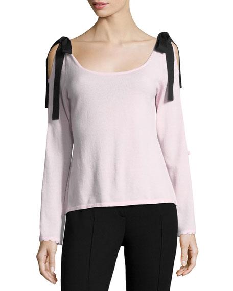 Beau Scoop-Neck Velvet Bow Sweater