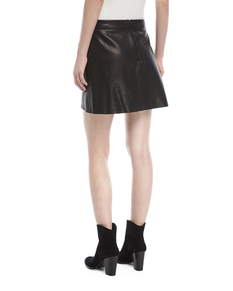 Lennon Leather Overlap Mini Skirt w/ Zip-Detail