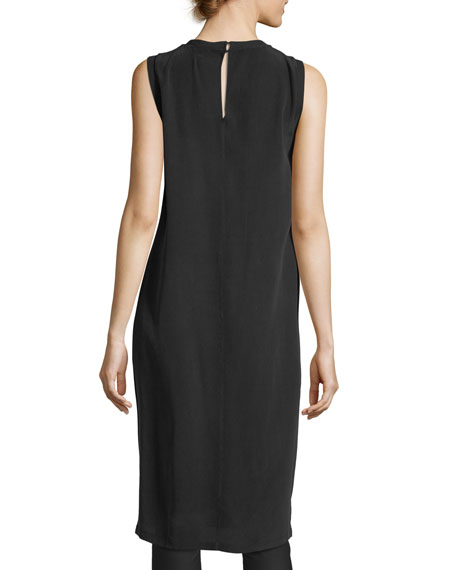 Patsy Crewneck Sleeveless Silk Tunic Dress