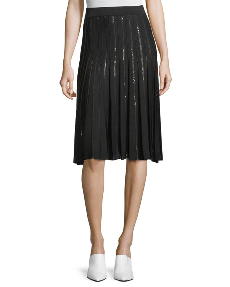 Pleated Sequin Relaxed Flare