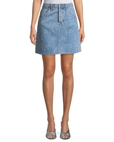 Paisley-Print A-Line Denim Skirt