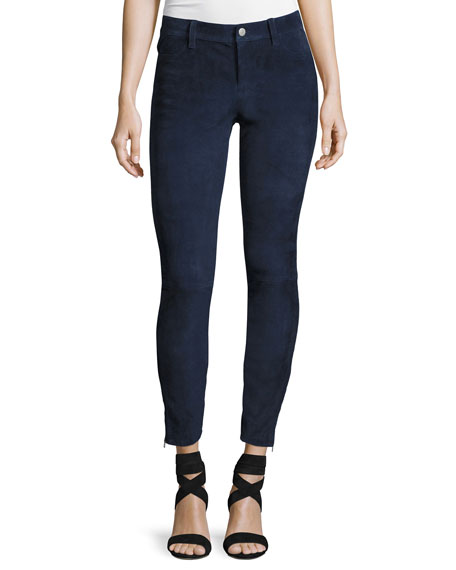 Suede Super-Skinny Pants, Dark Blue