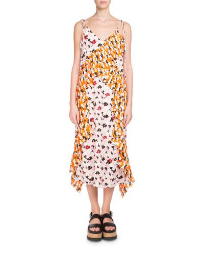 Floral-Print Ruffled Slip Midi Dress