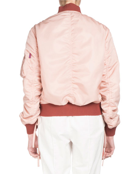 Ruched Zip-Front Bomber Jacket