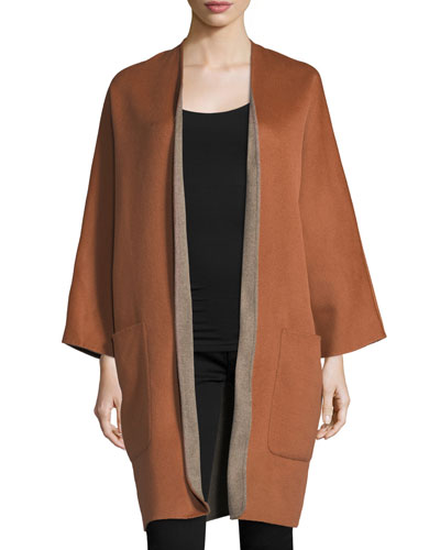 Reversible Cardigan Wool-Cashmere Coat