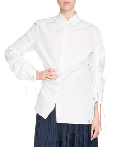 Button-Front Drawstring-Sleeve Poplin Shirt