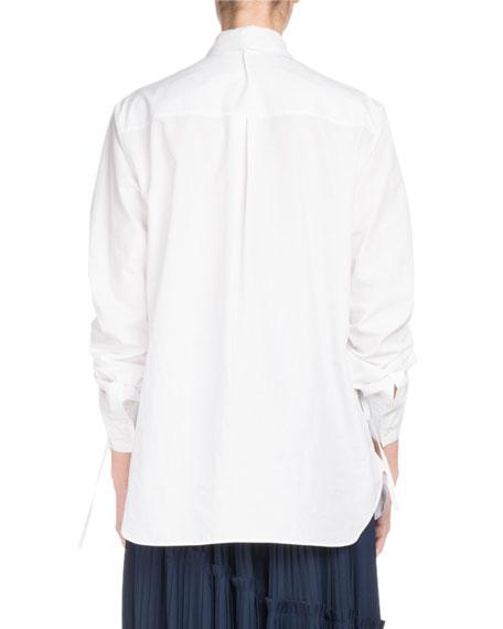 Button-Front Drawstring-Sleeve Poplin Shirt