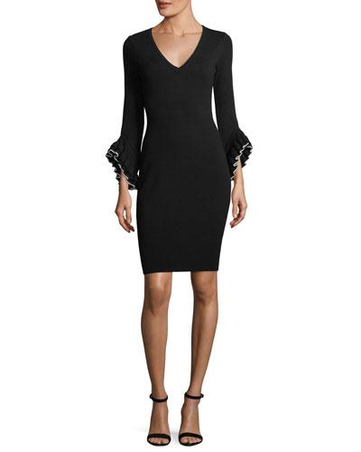 Layered Ruffle-Sleeve Sheath Dress