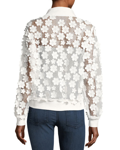 Floral Applique Bomber Jacket