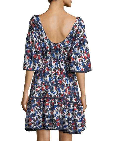 Rose Hibiscus-Print Silk Dress