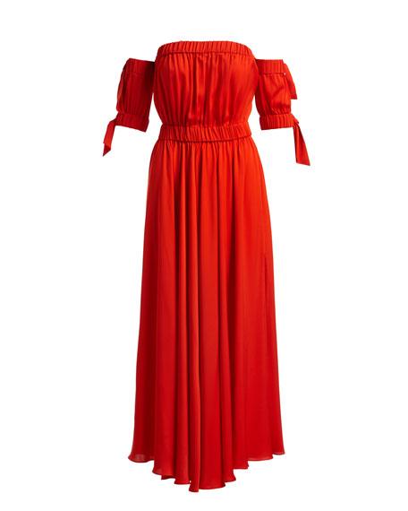 Zoey Stretch Silk Off-Shoulder Maxi Dress