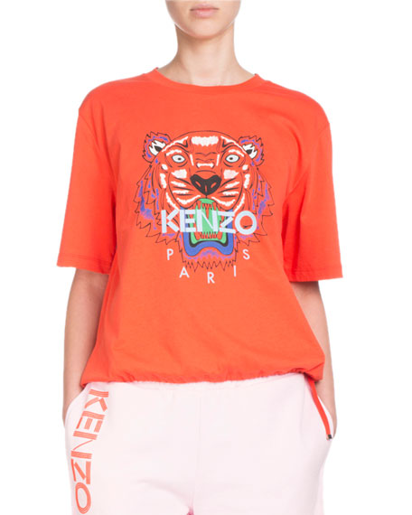 Tiger-Motif Crewneck Short-Sleeve Cotton T-Shirt