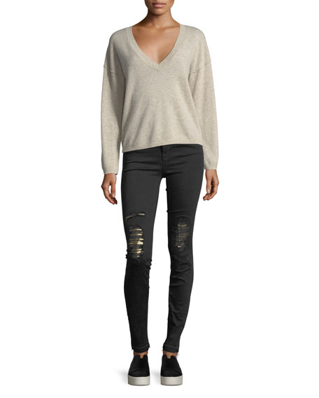 Maria High-Rise Skinny-Leg Jeans w/ Distressed Metallic Knees