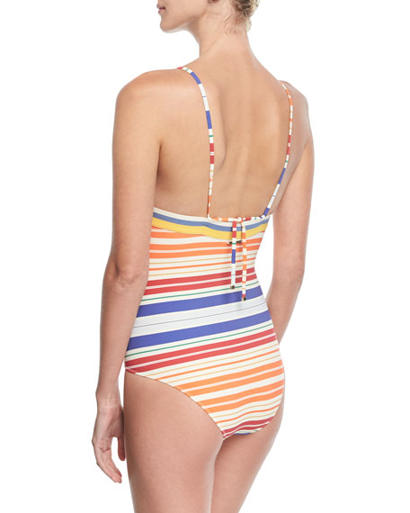 V-Neck Striped One-Piece Swimsuit