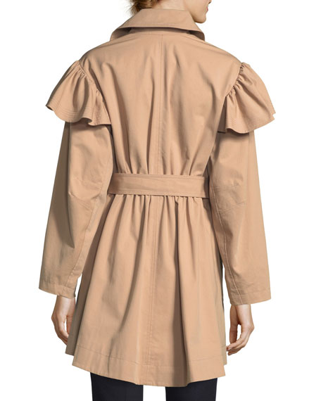 Cotton-Faille Belted Trench Coat