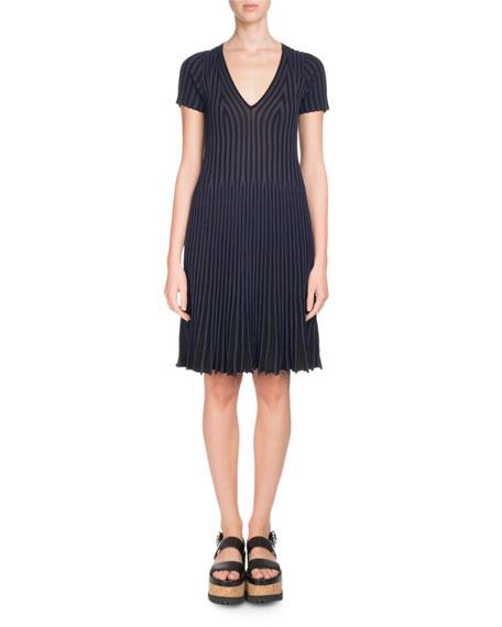 V-Neck Short-Sleeve Fit-and-Flare Dress