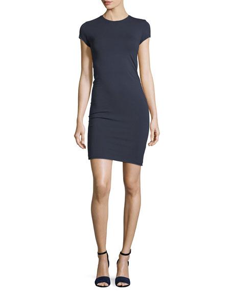 Crewneck Pima Cotton Jersey Fitted Mini Dress