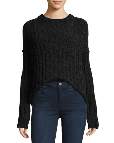 Chenille Crewneck Pullover Sweater