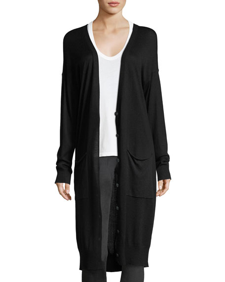 Silk-Wool Long V-Neck Cardigan