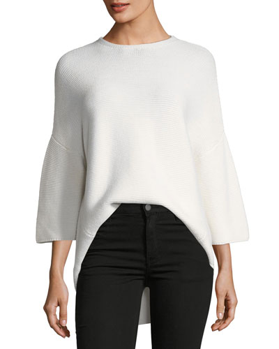 Merino Wool Trapeze Crewneck Sweater