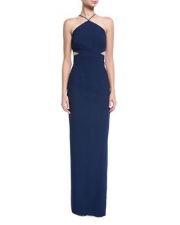 Crepe Halter Column Evening Gown w/ Cutouts