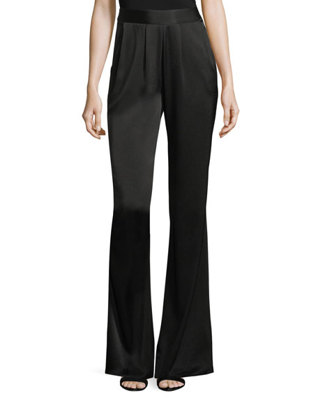 Iris High-Waist Wide-Leg Satin Pants