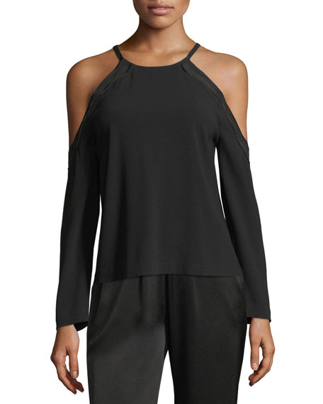 Anya High-Neck Cold-Shoulder Crepe Top