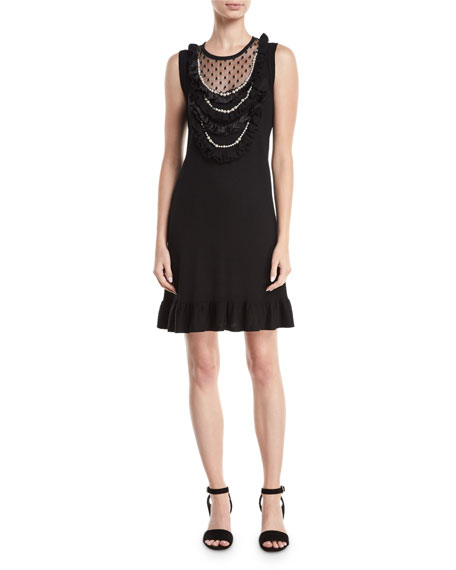 Sideshow Sleeveless Wool Cocktail Dress w/ Pearly Necklace