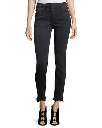 Le High Skinny-Leg Jeans w/ Jagged Hem