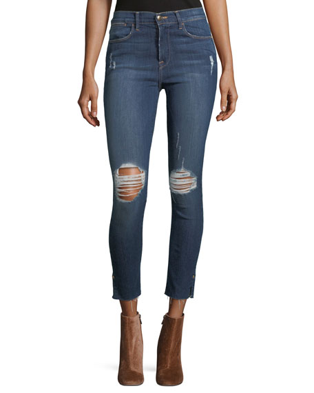 Le High Skinny Distressed Crop Raw-Edge Jeans