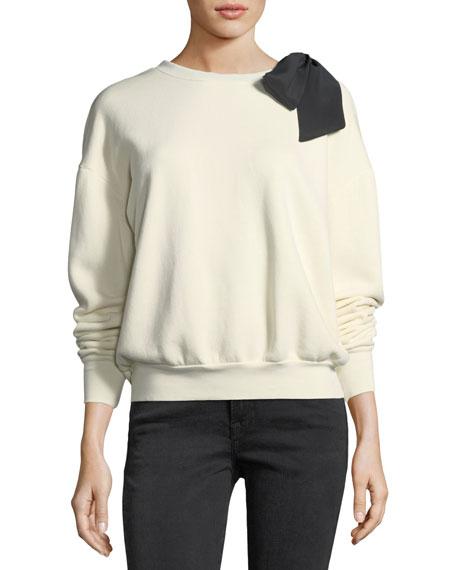 Crewneck Long-Sleeve Cotton Sweatshirt w/ Bow Detail