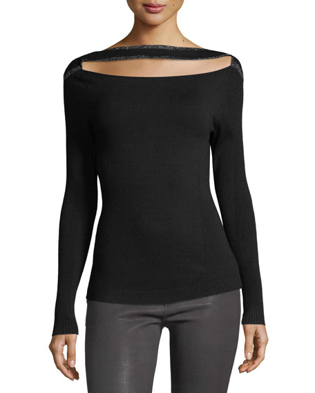 Split-Front Long-Sleeve Fitted Sweater