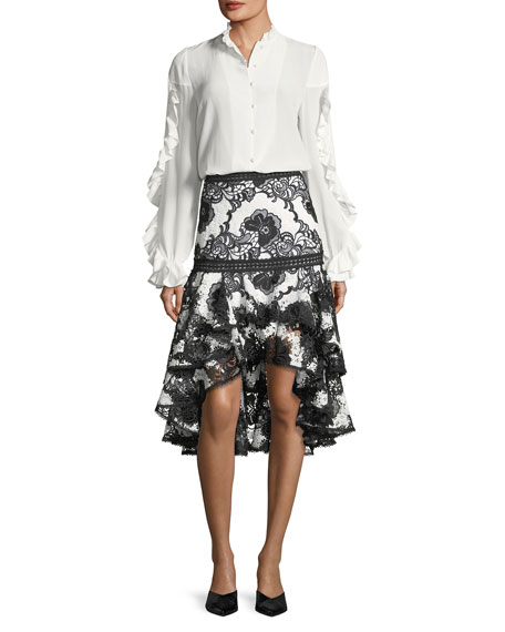 Halima Monochrome Lace High-Low Flared Skirt