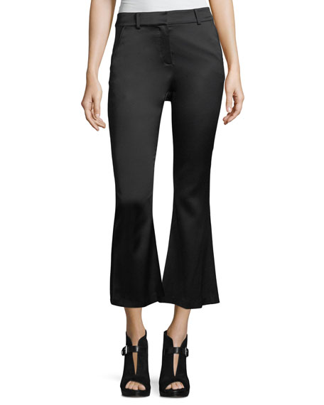Crop Flare Crepe Trousers