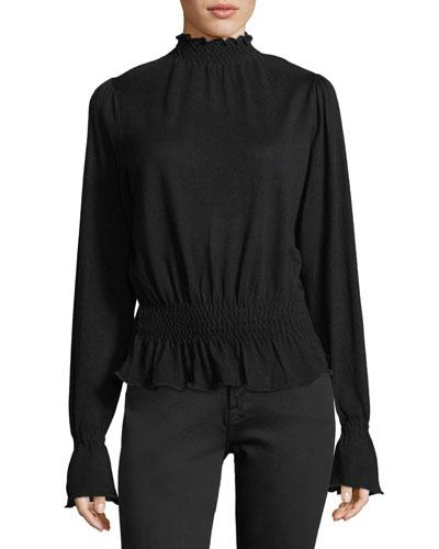 Smocked Mock-Neck Long-Sleeve Wool Sweater