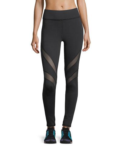 Psyche Full-Length Performance Leggings with Mesh Stripes