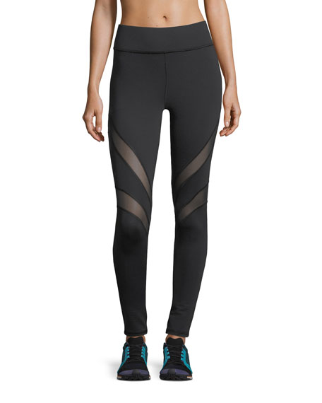 Psyche Full-Length Performance Leggings with Mesh Stripes