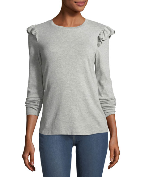 Ruffle Crewneck Long-Sleeve Cotton Top, Gray